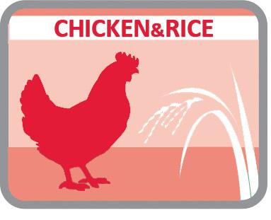 Rico em frango e com arroz